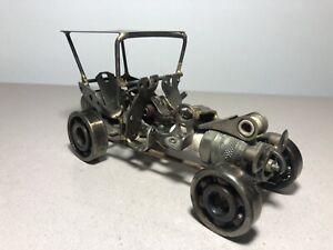Signed Welded Hot Rod Car Sculpture-Metal Handmade 1983 Castillo ~raRe~ Vintage