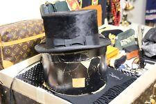 Vintage mens beaver fur felt top hat bankers gentleman original box 7 1/8