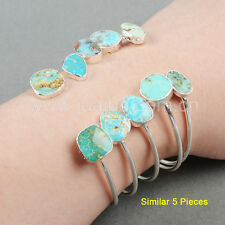 5Pcs Silver Plated 100% Real Natural Turquoise Adjustable Open Bangle HOT GS0235