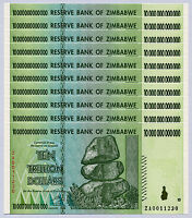 Zimbabwe 10 Trillion Dollars replacement ZA x 10 pcs 2008 P88 consecutive UNC