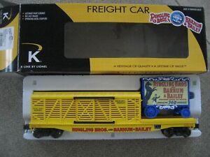 O Scale K-Line #6-22240 Ringling Bros. Combo Flat Car w/Stock Car & Wagon