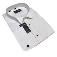 ' WHITE TIE' 100% COTTON WING COLLAR MARCELLA SHIRT BLACK STUDS 18 19 21 22 ""