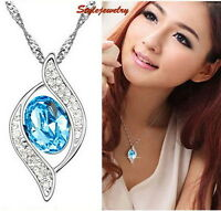 White Gold Filled Made with Swarovski Crystal Aquamarine Blue Necklace N243