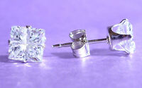 STERLING SILVER STUD EARRINGS SQUARE 5mm CUBIC ZIRCONIA CZ 925 SOLID SILVER