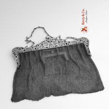 Lady`s Mesh Purse 1900 Double Compartment Sterling Silver