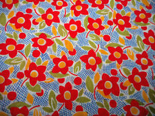 1930s Reproduction Fabric By The Yard Red Grn Yellow Floral Blue on White Cotton