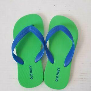 Toddler Boys Old Navy Flip Flops Size 12-13 Green /Blue Sandals Shoes Footwear