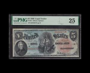 INCREDIBLE 1869 $5 LEGAL RAINBOW PMG VERY FINE 25