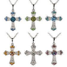 Dame Herren Kristall Strass Kreuz Anhänger Halskette Kreuzkette Kette Schmuck