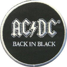 """AC/DC Aufbügler/Embroidery patch # 66 """"BACK IN BLACK"""" - 7 cm"""