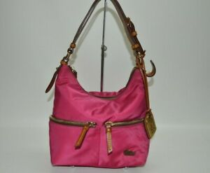 Dooney & Bourke Hot Pink Nylon Small Zip Sac Hobo Bag