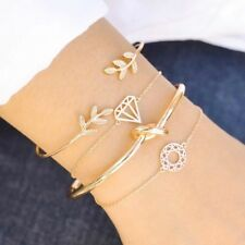 4pcs Bohemian Geometric Leaf Knot Crystals Bracelets Bangles Gold Tone Jewelry