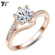 TT 9K Rose Gold GP RHODIUM 925 Sterling Silver Engagement Wedding Ring (RW41)