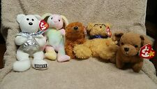 Ty Beanie Babies Hippie, Tuffy, Sequoia, Hugsy, Honors