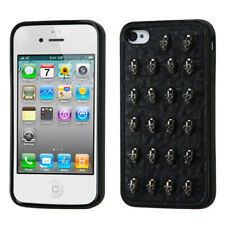 For iPhone 4s/4 Black Leather Backing Skulls Candy Skin Cover