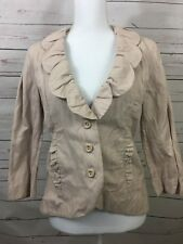 CAbi Women's Petal Jacket Blazer Blush Pink Ruffled Fitted Style #400 Size 6 A30