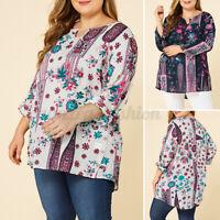 Vintage Femme Chemise Shirt Haut Manche Longue Col V Imprimé Floral Loisir Plus