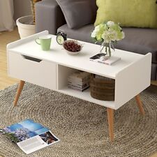 Modern Rectangle Coffee Table Side End Table w/Drawers Home Room Furniture Hot