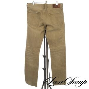 RRL Double RL Ralph Lauren Green Washed Wheat Slim Distressed Selvedge Jeans 30