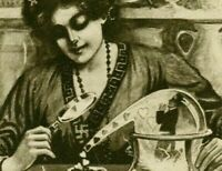 RARE FORTUNE TELLER with SWASTIKA ~AROUND HER NECK & WIZARD HAT postcard-s862