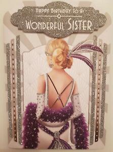 Sister Birthday card . Blonde Art Deco Lady - Beautiful Glittery Embossed Card
