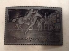 Vintage Belt Buckle Paul Revere Motif.  Small Size Pewter Look Free shipping!