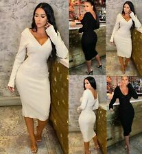 Ladies Long Sleeve V Neck Back Knitted Ribbed Bodycon Midi Party Dress 8-14