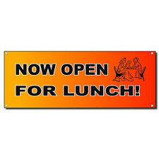 Now Open For Lunch Red Orange 13 Oz Vinyl Banner Sign w/ Grommets 2 ft x 4 ft