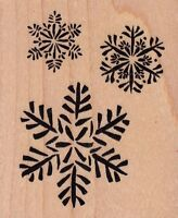 "snowflakes psx Wood Mounted Rubber Stamp  2 1/2 x 3""  Free Shipping"