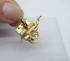 9ct Gold Charm, Monkey Street Organ Grinder Vintage Dangle Traditional Gift Box