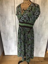 Boden Green & Brown Floral Short Sleeved Fit & Flare Mid Calf Dress Size14L