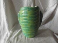 Vintage Art Nouveau Ribbed Vase Mat Green & Yellow Glaze