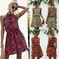 Womens Off Shoulder CAMI Floral Swing Sundress Halter Elastic Ladies Mini Dress