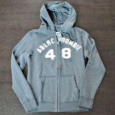 New Abercrombie & Fitch Mens Dark Gray Full Zip Sweatshirt Hoodie Small