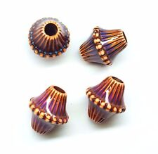 16x14mm Tan Acrylic Color-changing Mood Corrugated Double Cone Beads - Set of 4