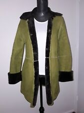 100% Sheepskin Shearling Leather Lambskin REVERSIBLE Jacket/coat Olive Size 8