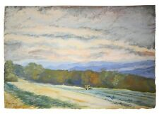 ANNE MELLOR (AMERICAN/20TH C) SIGNED LANDSCAPE ORIG W/C OF FARM TRACTOR IN FIELD