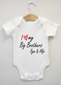 Personalised I love my Big Brothers Baby Grow Bodysuit Babygrow Vest Shower Gift