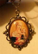 Scallop Rim Ball Clustered Medieval Madonna and Child Glass Cameo Medal Necklace