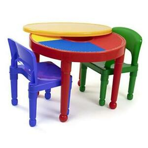 Kids 2-in-1 Plastic Building Blocks Red/Green/Blue Table and 2 Chairs Set