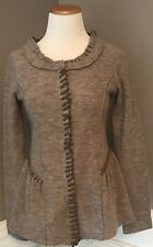 Anthropology Guinevere Small 100% Boiled Wool  Tailored Cardigan Sweater EUC
