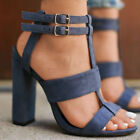 Women Buckle Block High Heels Sandals Open Toe Ankle Strap Party Club Shoes Size