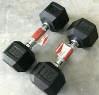 NEW Weider New Hex Rubber 15 lb Pound Set of Two Dumbbell Weights, 30lbs Total