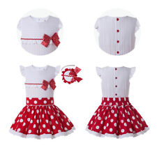 Kid Girls Polka Dot Shirt Skirt Red Bow with Headband Sleeveless Party Wedding
