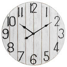Large Wooden Plank Wall Clock | Dia 68 cm | Colour: White