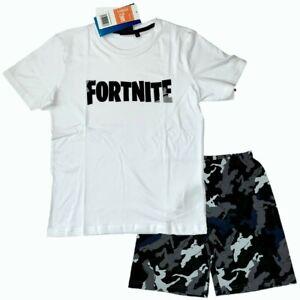 Boys Kids Fortnite Gamer Short Sleeve Pyjamas Pjs T-Shirt Shorts Set 9-16 Years