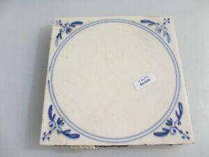 Vintage Ceramic Tile Blue & White Leaf Nouveau Old Antique Georgian STYLE