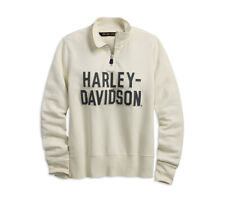HARLEY-DAVIDSON® WOMEN'S FELT LETTER ANTIQUE WHITE ¼ZIP SWEATSHIRT 99224-19VW XL