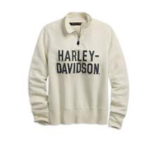 HARLEY-DAVIDSON FELT LETTER ANTIQUE WHITE WOMENS ¼ ZIP SWEATSHIRT 99224-19VW L
