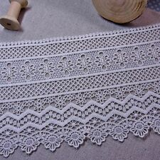 """Broderie Anglaise Embroidery Scalloped Cotton Lace Trim 15.5cm (6.1"""") Ivory 1yd"""